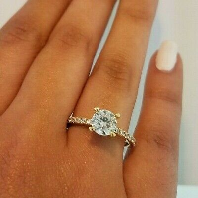 14k Solid Yellow Gold Solitaire Engagement Wedding Promise Ring 1.25 Ct Diamond Strong Packing Engagement Rings Fine Rings