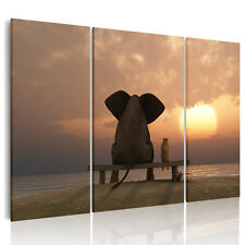 HD Canvas Prints Home Decor wall art Painting Picture Unframed Elephant Sunset