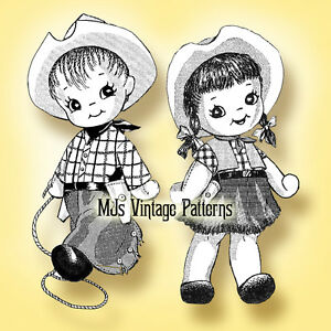 Vintage Pattern ~ Cowgirl /& Cowboy Dolls