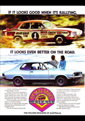"1972 LJ HOLDEN TORANA GTR XU1 AD A4 POSTER GLOSS PRINT LAMINATED 11.7""x8.3"""