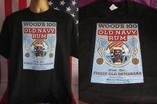 WOOD'S 100 OLD NAVY RUM VINTAGE POSTER PRINT T SHIRT- BLACK- XXX LARGE (3XL)