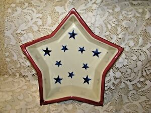 HARTSTONE-POTTERY-STAR-CANDLE-BOWL-BAKING-DISH-MOLD-Patriotic-Blue-Stars