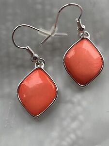 Silver Tone Fashion Drop. Coral Stone. Brand New.