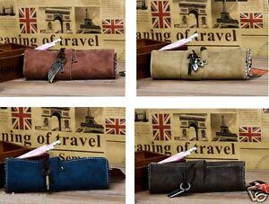 PU Leather Vintage Retro Soft Stationary Scroll Up Pen Pencil Case Bag Holder