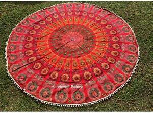 Mandala-de-India-Playa-Manta-Redondo-Tapiz-Pared-Decoracion-Hippie-Yoga-Mat-Boho