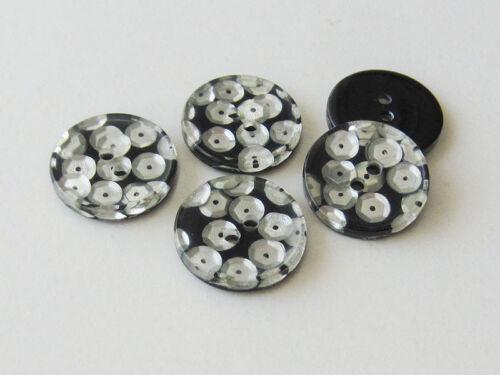 Pailletten 5 schwarze  Zweiloch Kunststoffknöpfe mit silberfb z020ss