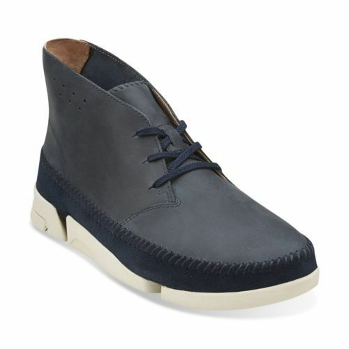 Clarks Mens Originals Trigenic Dune Navy Leather Boots in Size UK10.5 (EU45)