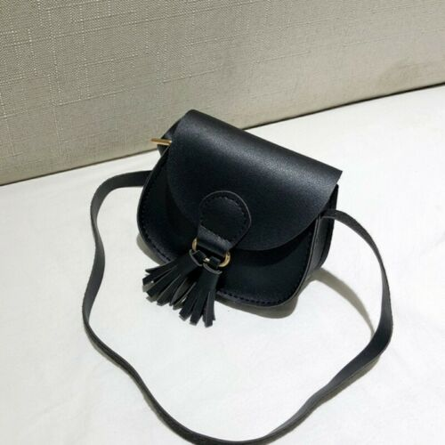 Kid Girl Faux Leather Princess Tassel Small Messenger Shoulder Round Bag Purses