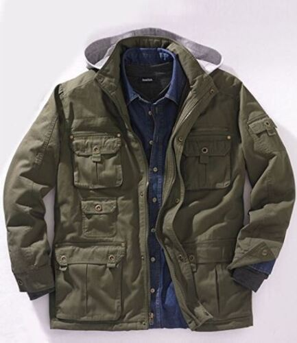 NEW MEN/'S PLUS SIZE Multi-Pocket Lined Twill Lightweight Jacket MSRP $129