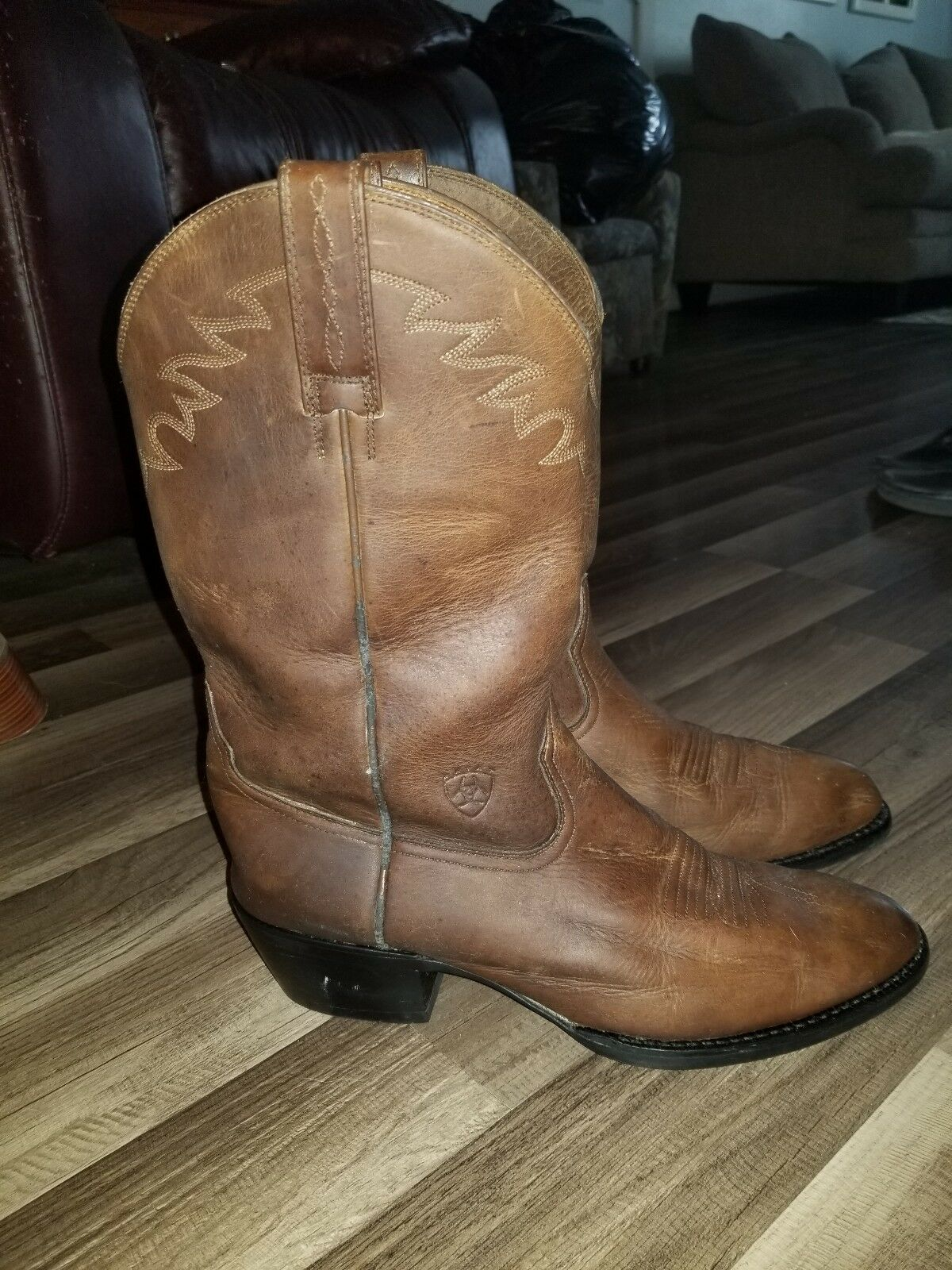 Ariat Men's Style 34625 Sedona Brown Leather Roper Cowboy Boots Size 11D