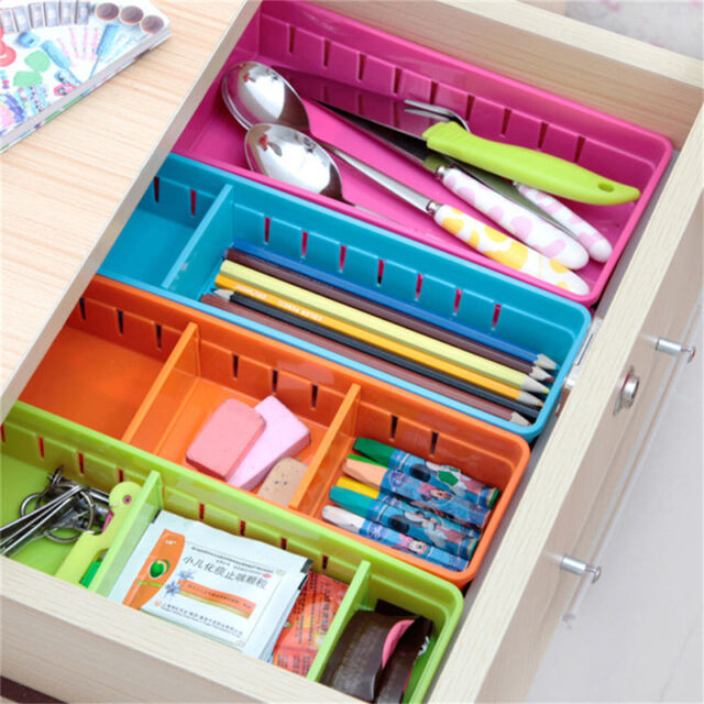 Adjustable New Drawer Organizer Home Kitchen Board Divider Makeup Storage Box FJ