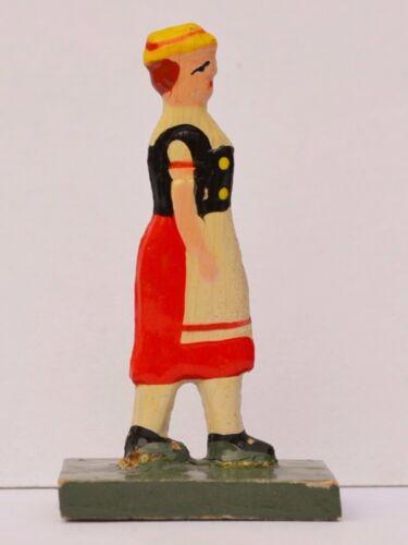 Frau Mädchen Holz Figur Miniatur Krippenfigur Bauernhof Holzfigur Handarbeit