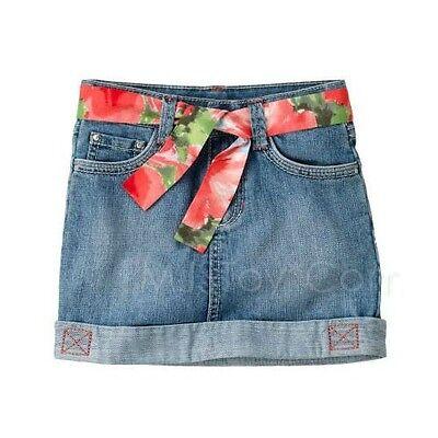 GYMBOREE GIRLS FLOWER JEAN SKIRT 3T 4T  SPRING SUMMER NWT