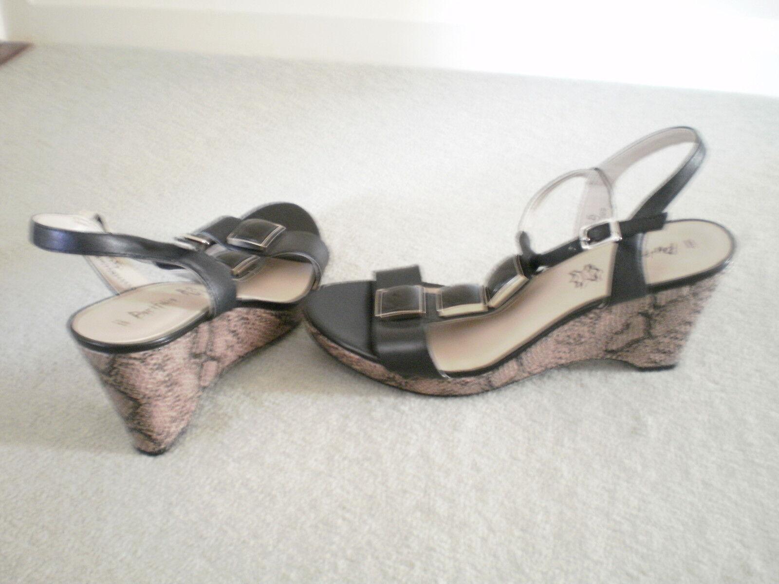 Ladies M&S Portfolio Black Wedge Sandals size 5.5