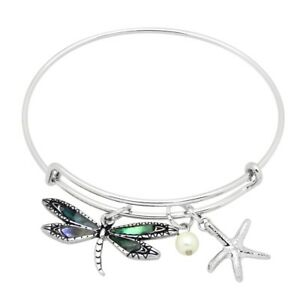 294f7673d50 Image is loading Abalone-Shell-Bracelet-Thin-Charm-Bangle-Starfish -DRAGONFLY-