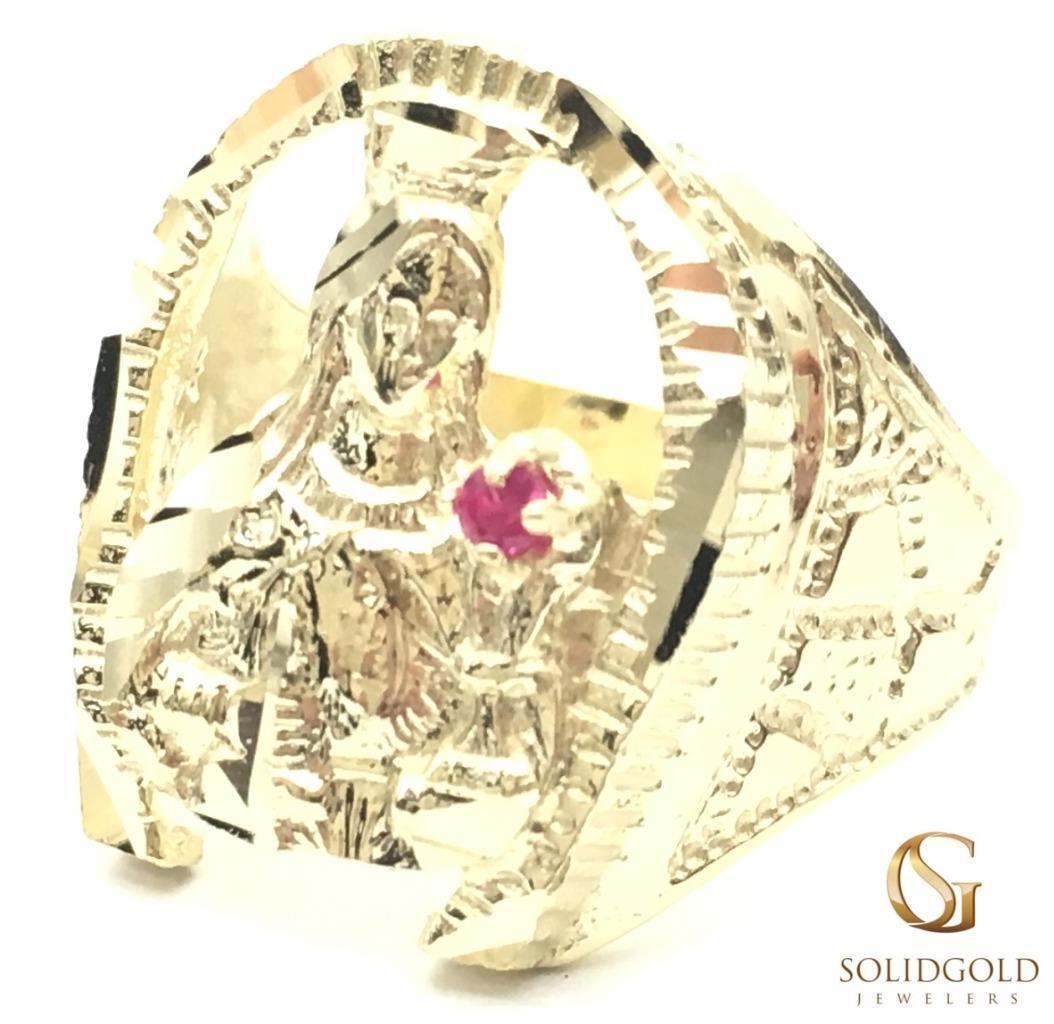 NEW 10K YELLOW gold 21 MM LONG CZ RUBY SAINT VIRGIN MARY HIP HOP STYLE RING 6363
