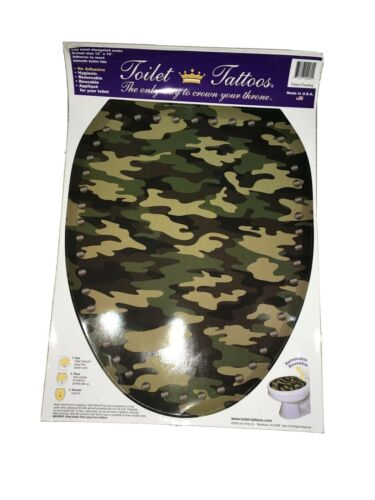Camouflage Hunter Print Toilet Seat Tattoo Applique Decal Cling Elongated 12x15