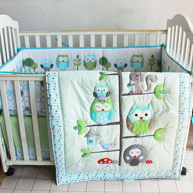 7pcs Boy Baby Bedding Set Owl Family Nursery Quilt Per Sheet Crib Skirt 06