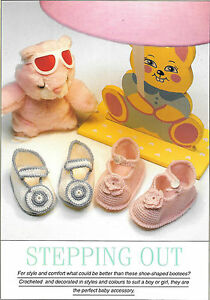 VINTAGE-BABY-SHOE-BOOTEE-CROCHET-PATTERN-4PLY-14cm-LENGTH