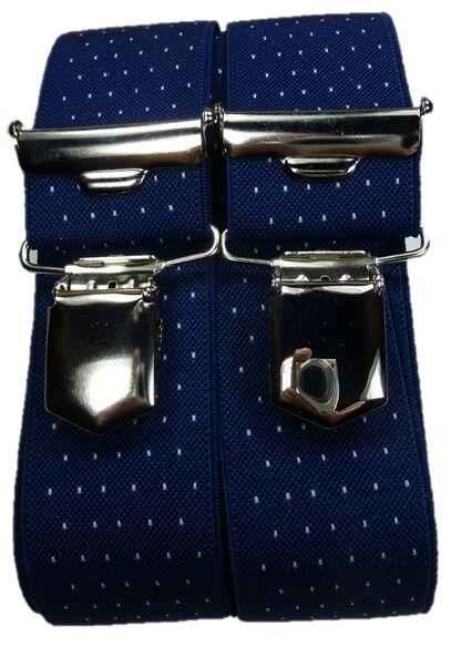 feiner Hosenträger, blau mit Punkten, 35mm breit, H-Form, 4 extra starke Clips