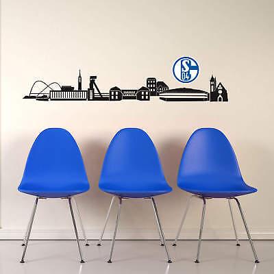 Wandtattoo Schalke 04 Skyline mit Logo farbig Glesenkirchen Bundesliga Fußball