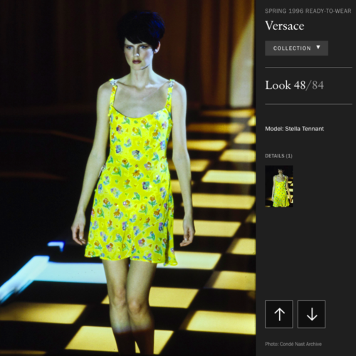 Gianni Versace Couture Yellow Beaded Silk Chiffon Mini Dress Size 4 From Ss 1996 by Versace
