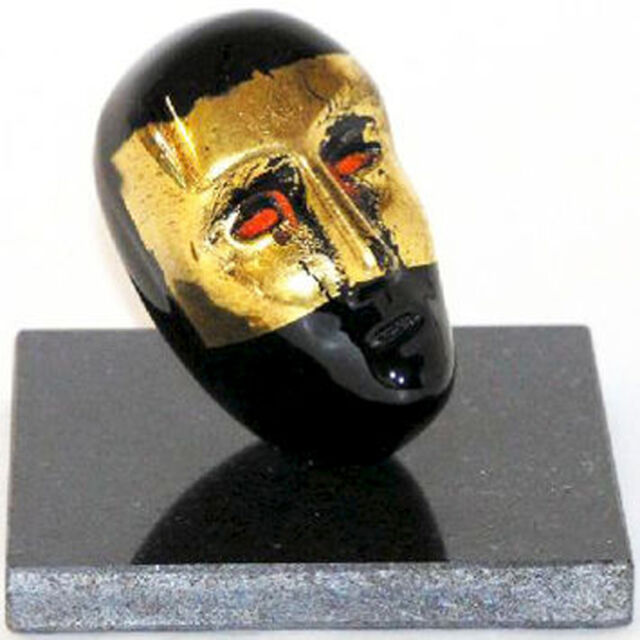 Kosta Boda Bertil Vallien -Brain on stone / black with gold- sign lim. Ed. NEU
