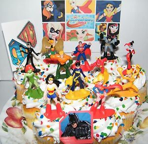 Image Is Loading DC Super Hero Girls Cake Toppers Set Of
