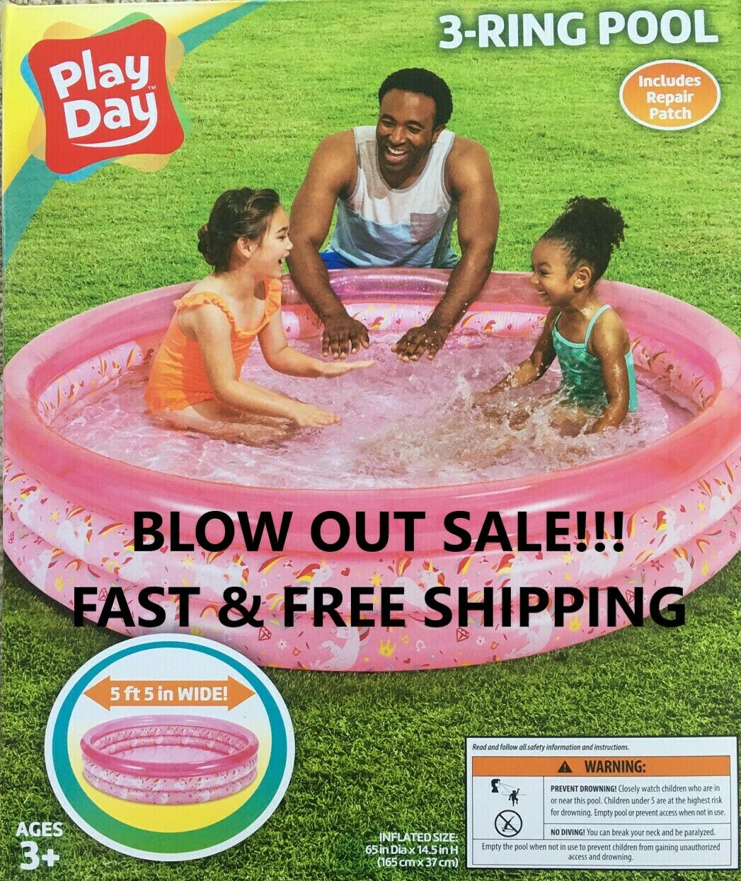 PoolInflatable PLAYDAY 3 Ring 5 ft Round Pink,Summer Swimming Kids Outdoor NEW