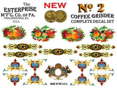 No 2  Coffee Grinder Mill  Star Restoration Decal Set Co Enterprise MFG
