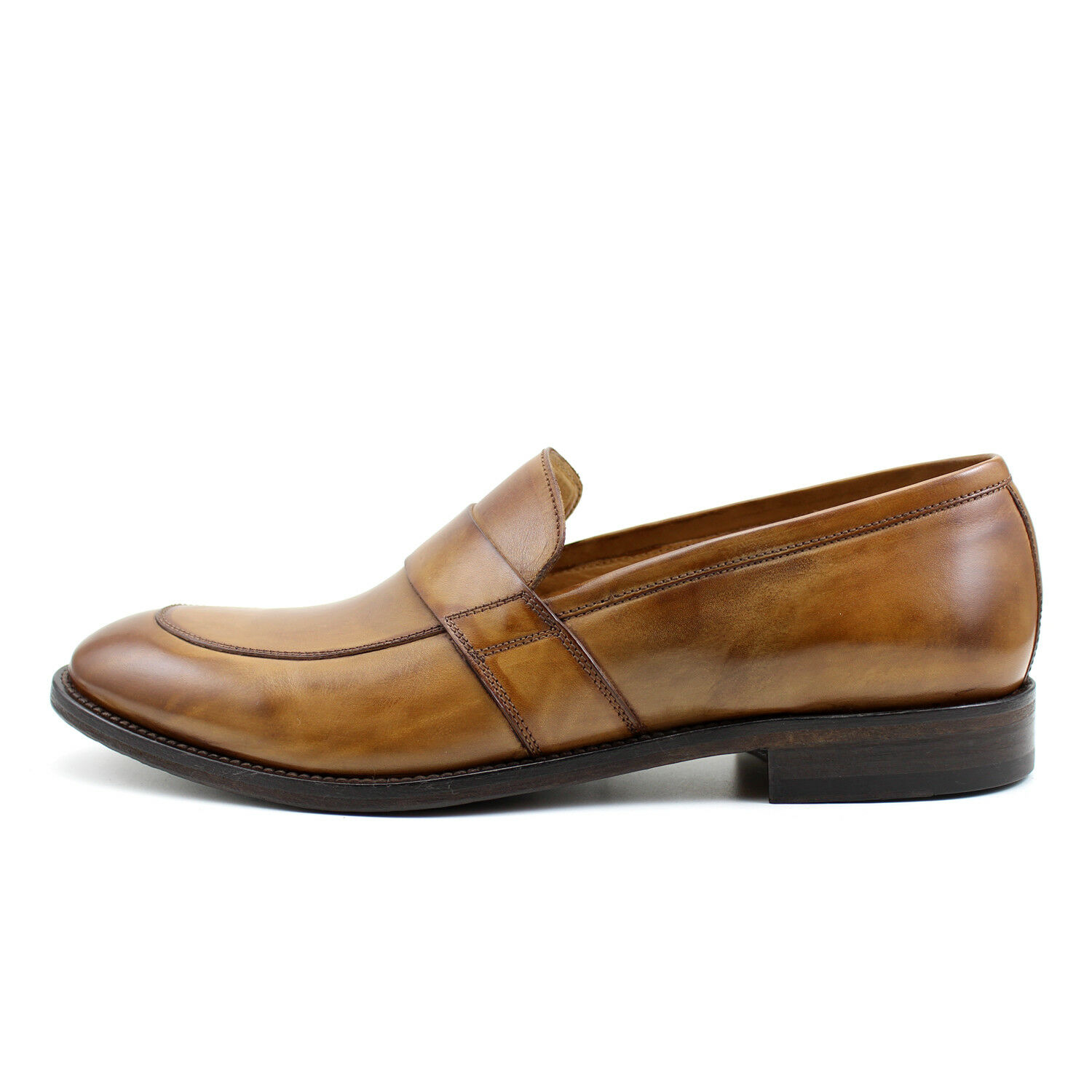 Men's mocassin brown leather shoes handmade Italian elegant GIORGIO REA 7587MA
