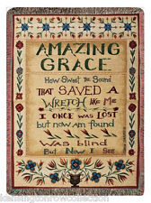 AMAZING GRACE WOVEN TAPESTRY THROW 50x60 RELIGIOUS CHURCH BIBLE BLANKET