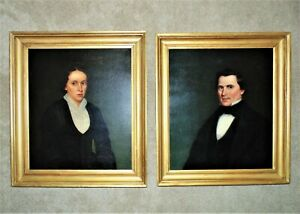 Pair of 19 c. Portrait Paintings Husband & Wife Oil on Canvas Antique Victorian