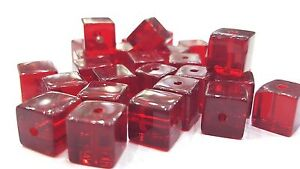 50-pieces-8mm-Crystal-Glass-Square-Cube-Beads-Dark-Red-A3083