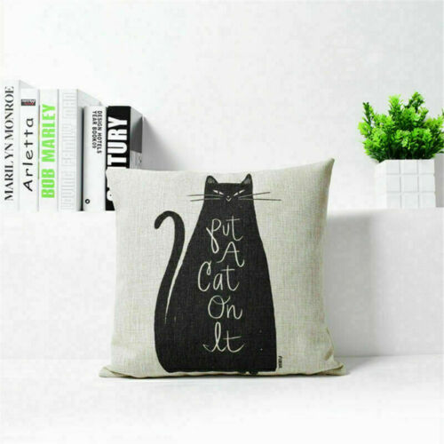 Cartoon Cat Cut Home Decor Cotton Linen Throw Pillow Case Sofa Cushion Cover