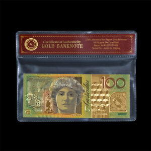 WR-Australian-100-Dollar-Paper-Note-24K-GOLD-Colored-Banknote-Money-w-COA-PACK
