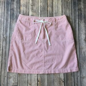 Talbots-Skirt-Petite-Women-8-P-M-Seersucker-Cotton-Red-White-Straight-Casual