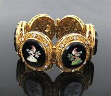 Vintage 1.80ct Diamond & Bird Micro Mosaic 18K Yellow Gold Decorated Bracelet