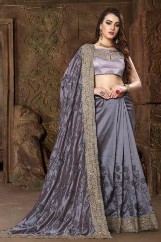 Designer Grey Heavy Zari Resham Embroidery Bollywood Sari Silk Party Wear Saree