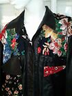 RARE 80s Vintage JUDITH ANN CREATIONS Leather Beaded Floral Jacket Womens Small