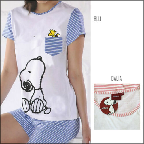 Pigiama estivo da donna corto Penauts in morbido e fresco cotone Snoopy 20048