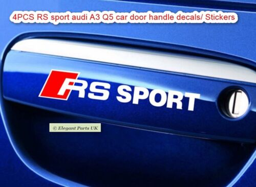 4 PCS//SET RS Sport Audi A3 Q5 Reflective Styling Car Door Handle Knob Stickers