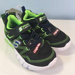Toddler-Boys-039-S-Sport-by-Skechers-Flinn-Light-Up-Sneakers-Shoes-Green-size-10