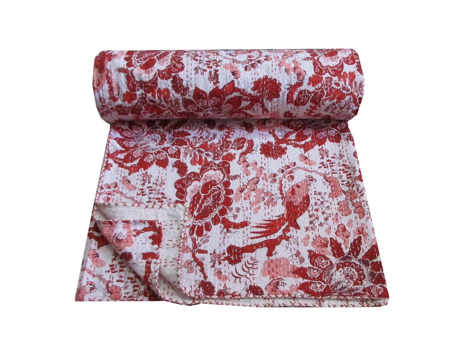 Cotton BedcoverKantha Quilt Indian Vintage Reversible ThBlanket Throw Baby Quilt