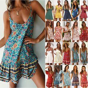 Women-Boho-Floral-Short-Mini-Dress-Holiday-Party-Evening-Summer-Beach-Sundress