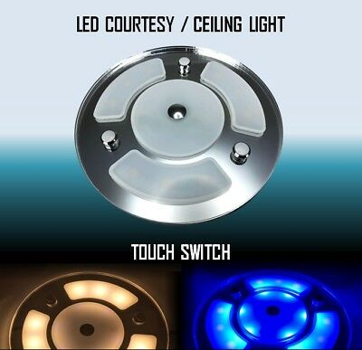 """Pactrade Marine Boat RV 4/"""" 2PCS Blue White LED Dome Courtesy Light  Touch Switch"""