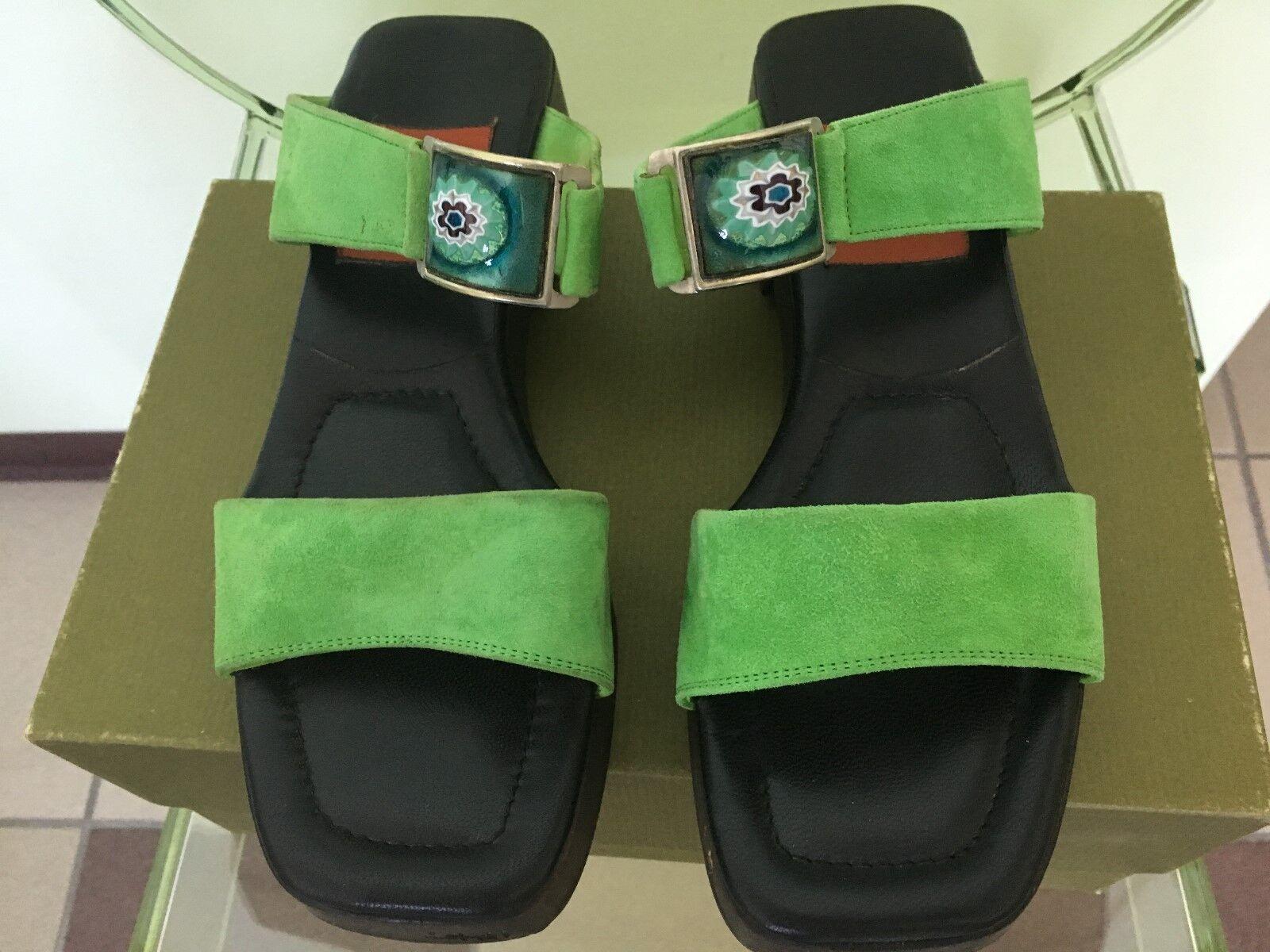 Women's Green Goffredo Fantini Nubuck Sandal Slides w Ornamental Detail Size 7B