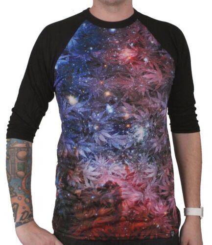 DNA Weed Marijuana Plant Space Galaxy Sublimation 3//4 Sleeve Raglan Shirt NWT