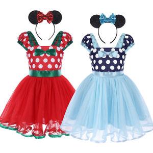 3ec0bca63 Baby Girl Minnie Mouse Tutu Dress Headband Outfit Princess Party ...