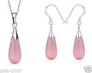 925-Sterling-Silver-Pink-Opal-Stone-Drop-Pendant-Necklace-Earrings-A-Set